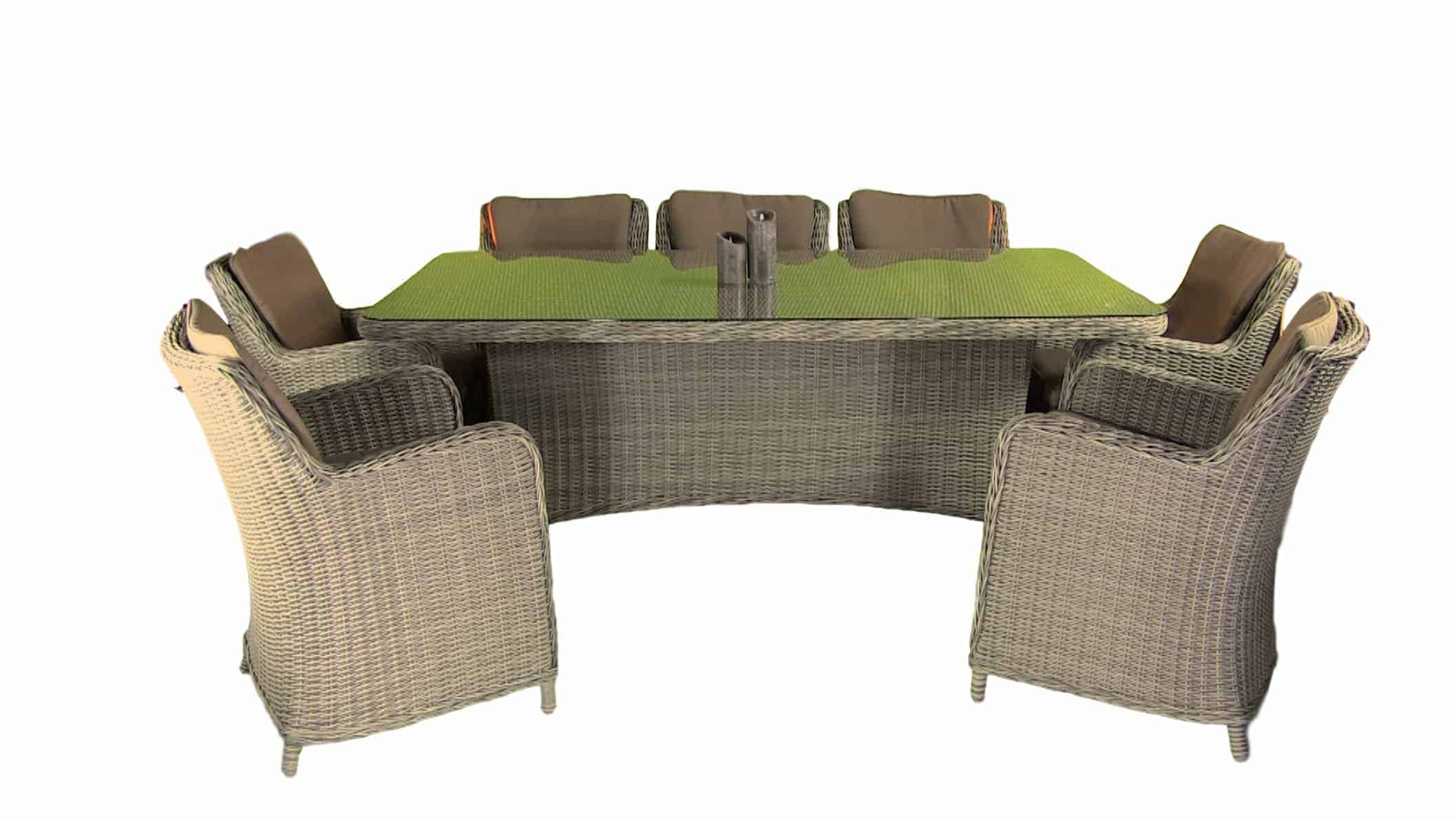 Bilbao round rattan garden table and 6 chairs chairs seating - Garden furniture dublin ...