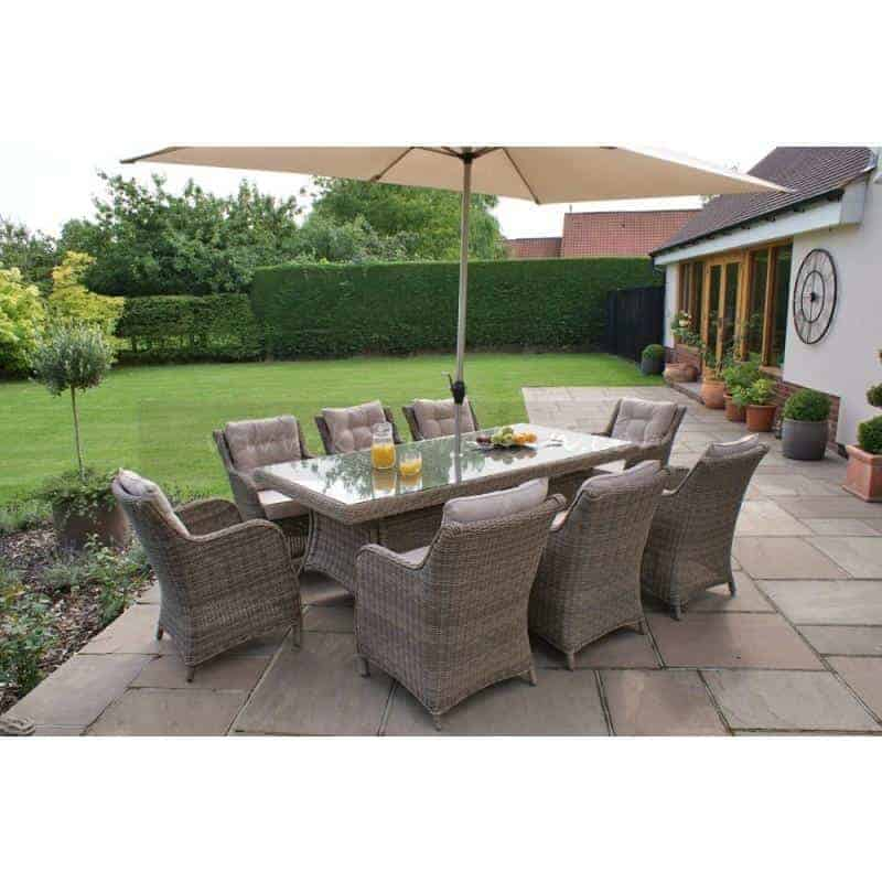 Outdoor Garden Furniture Dublin Ireland Riccioni 200cm Rectangular 8 Seat Sanded Natural With