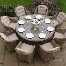 Riccioni 8 Seat Sanded Natural Round with Bilbao Armchairs