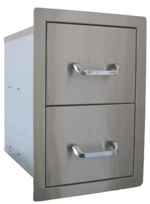 24200 Beefeater Built in Stainless Steel Double Drawer