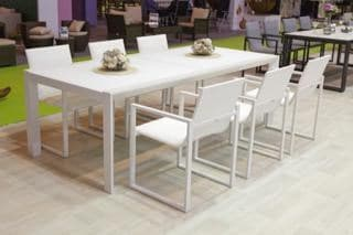 lisbon 220cm 8 seat dining set with belluno arm chair