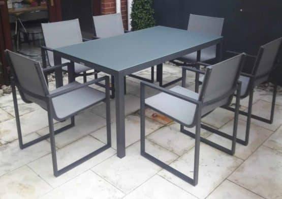 Lisbon 6 Seat Dining Set Charcoal2 - Outdoor Furniture For Sale Dublin Ireland
