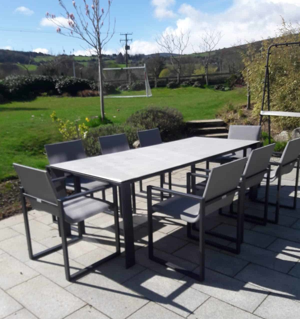 Fermo Dining Table set with 9 Chairs - Charcoal