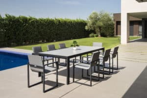 Fermo Dining Table set with 8 Chairs - Charcoal
