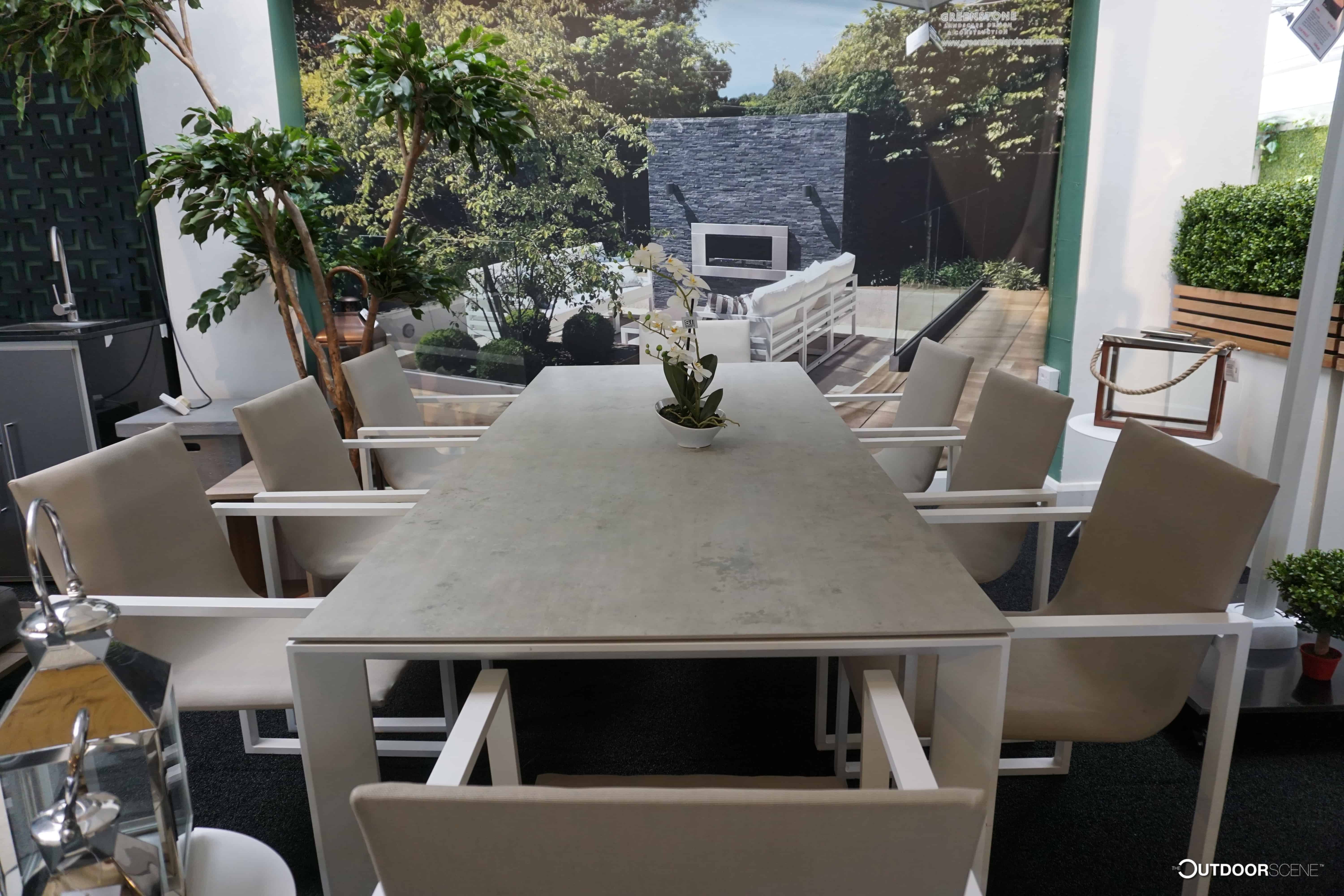 Fermo Dining Table set with 8 Chairs - White   Garden ...