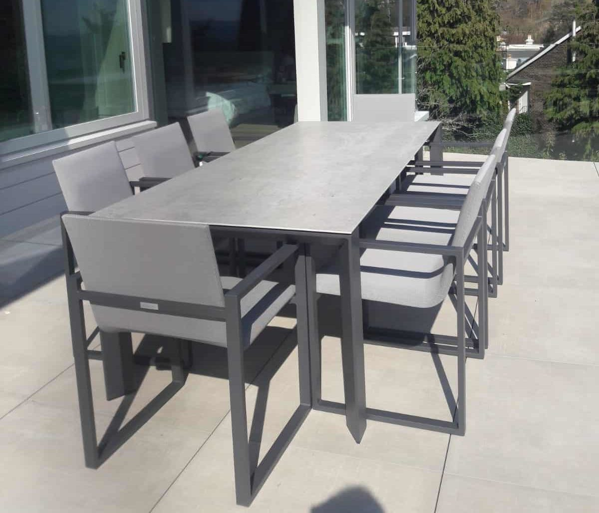 Fermo Dining Table Set With 8 Chairs Charcoal