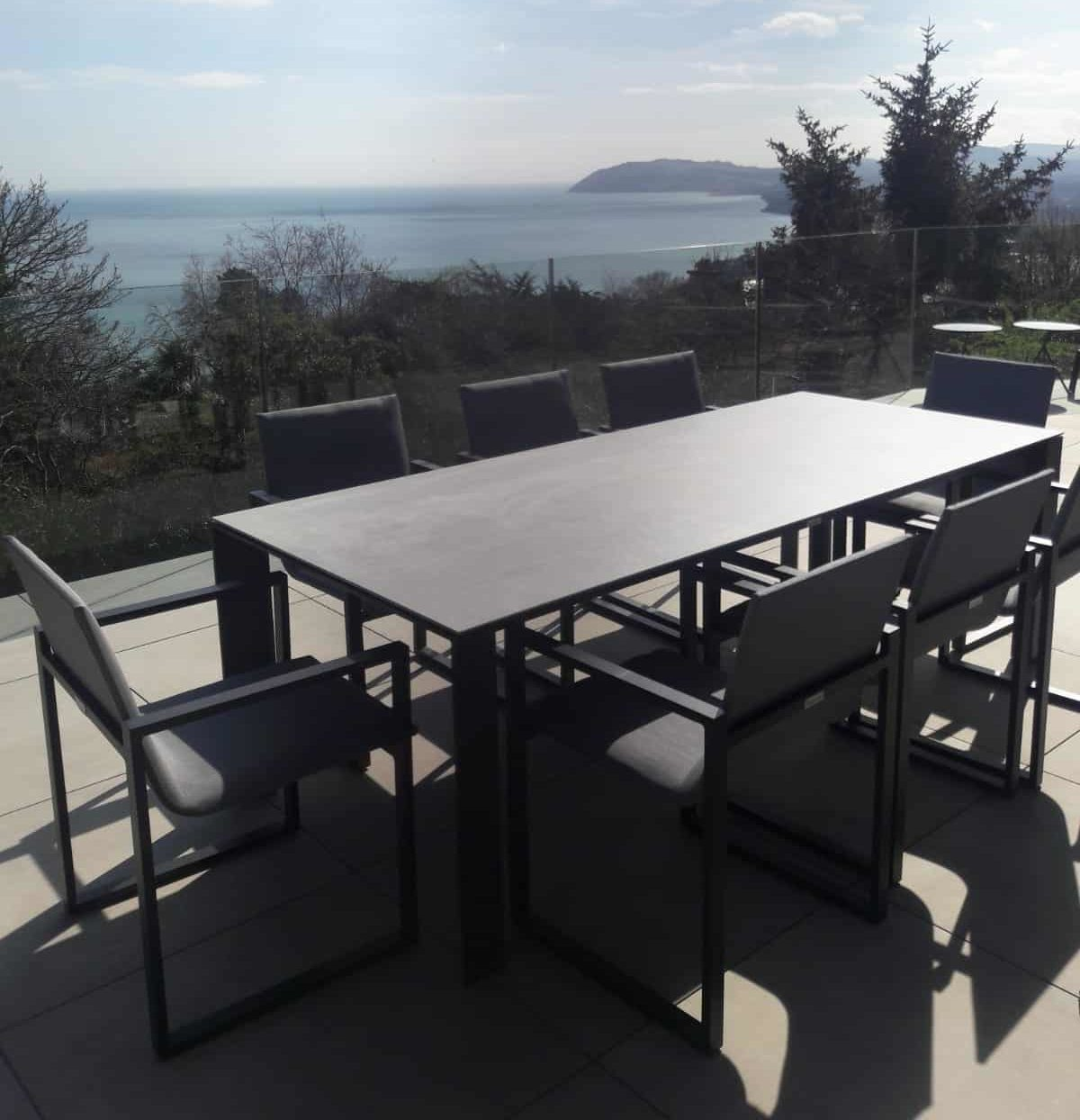 Fermo Dining Table set with 8 Chairs - Charcoal   Garden ...