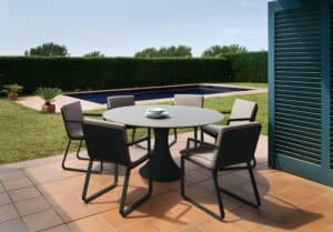 Fano 6 Seat Outdoor Dining Set with Verona Arm Chair - Charcoal