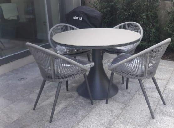 Fano Round Glass Table With 4 Spade Chairs2 - Outdoor Furniture For Sale Dublin Ireland
