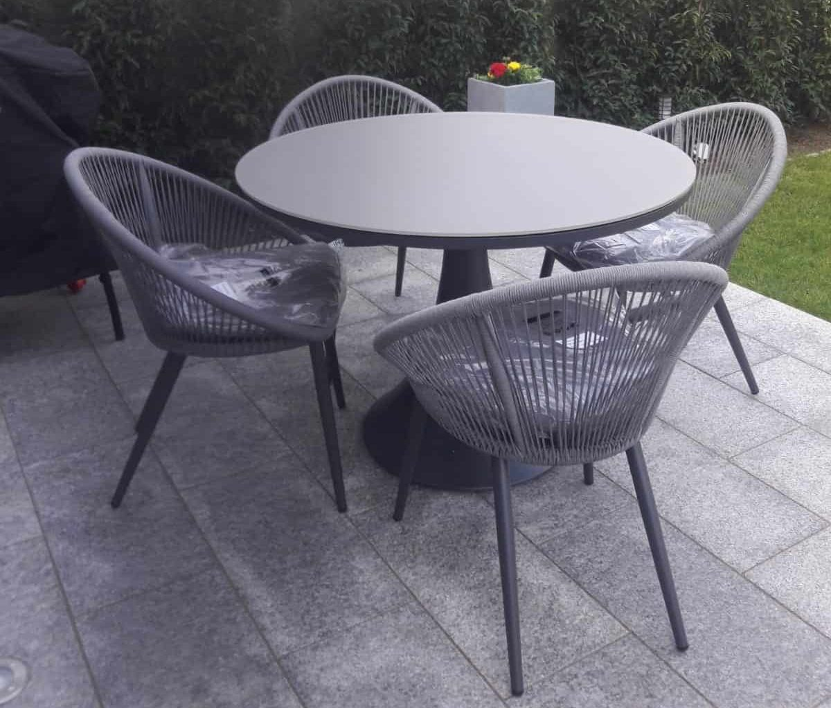 Fano round glass table with 4 spade chairs3 outdoor furniture for sale dublin ireland