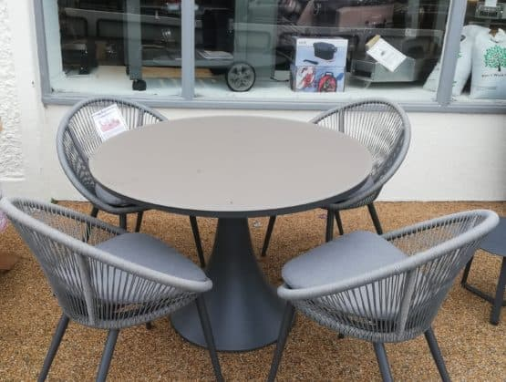 Fano Round Glass Table With 4 Spade Chairs - Outdoor Furniture For Sale Dublin Ireland