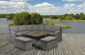 Carina Rattan Corner Set With Fire Pit
