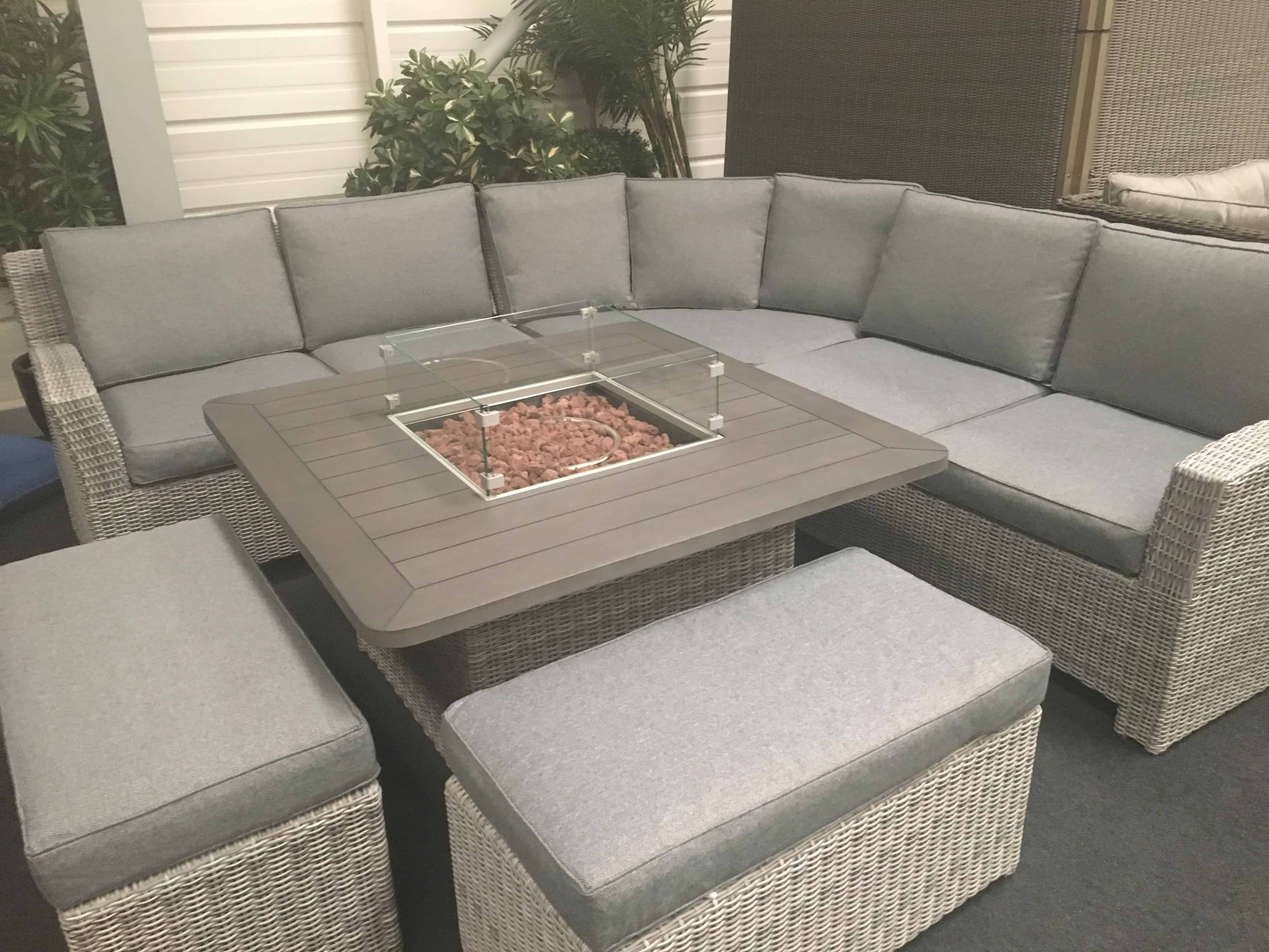 Carina Rattan Corner Set With Fire Pit Garden Furniture