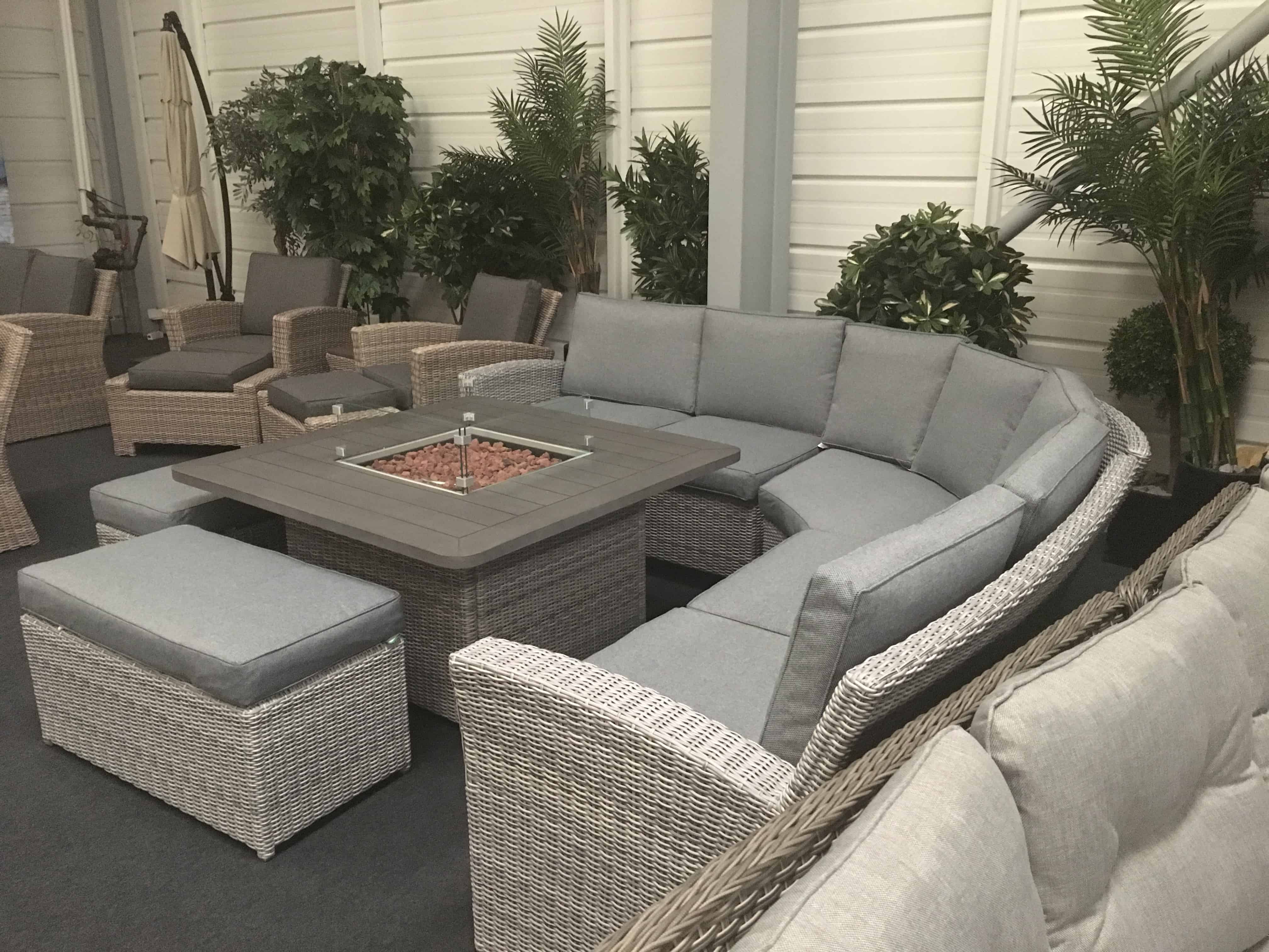 Carina Rattan Corner Set With Fire Pit Garden Furniture Garden Furniture Dining Sets Garden Sofa Sets And Lounging Garden Furniture Barbecues Outdoor Ie