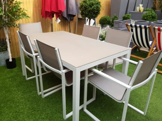 Lisbon 6 Seat Dining Set with Belluno Arm Chair - White Frame Outdoor Furniture For Sale Dublin Ireland