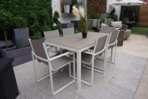 Lisbon 6 Seater White Frame2 - Garden Dining Sets For Sale Ireland
