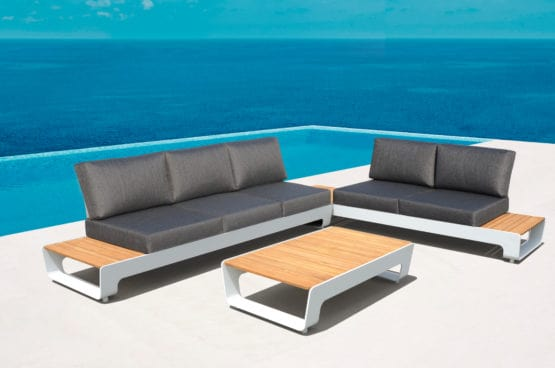 Sanya Outdoor Corner Sofa Set White- Outdoor Furniture for sale Dublin