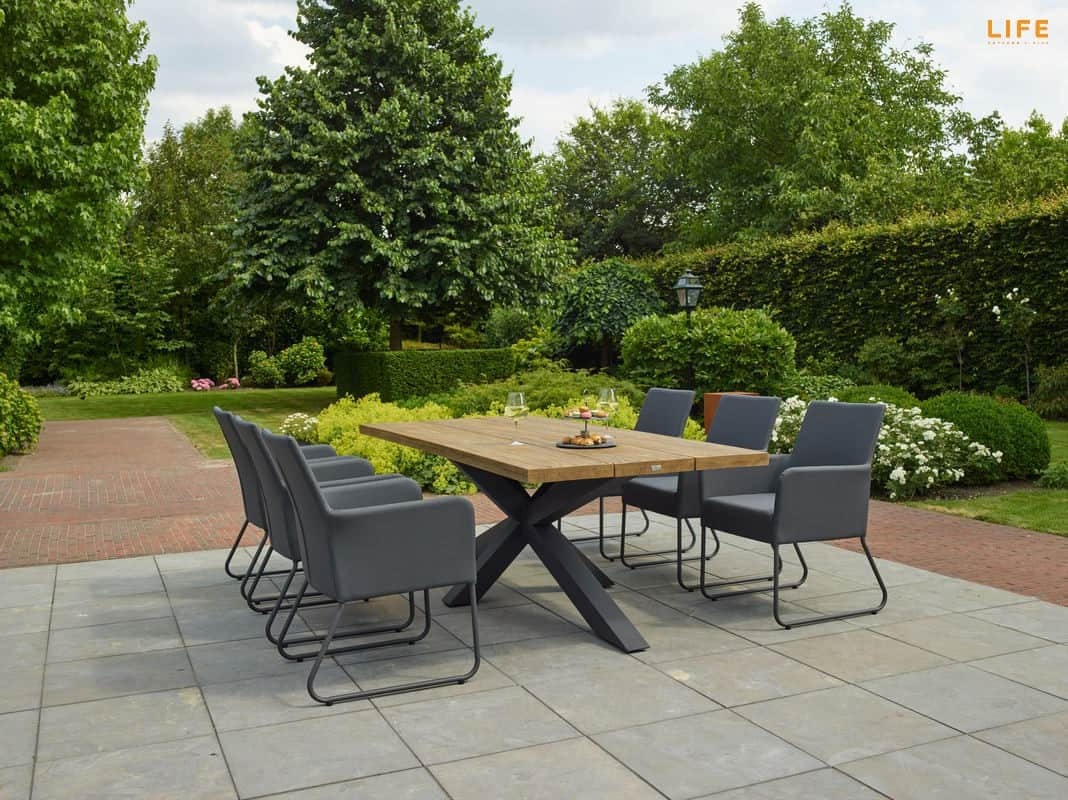 Los Marcos Outdoor Dining Table 6 x 6cm With 6 Outdoor Chairs