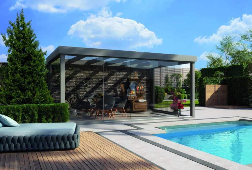 The Outdoor Scene Flat Roof Free Standing Edition Veranda With Glass Doors