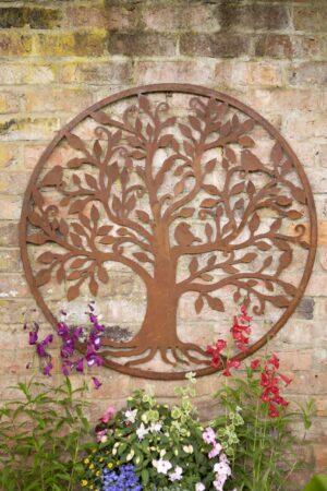 Bird Tree Wall Plaque Metal