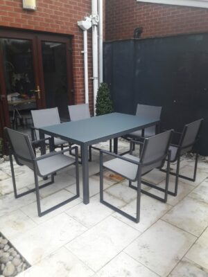 Orlando Aluminum/glass table With Belluno Dining Chairs