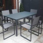 Orlando Aluminum/glass table With Belluno Dining Chairs - Garden Dining Sets For Sale Dublin